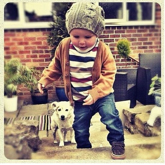 Baby boy style- not necessarily the hat.  But the shirt and cardi are adorable