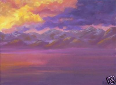 This is an original painting called Afterglow. It was inspired by a winter visit to Lake Tahoe and I loved the glow from the clouds after the storm which illuminated the mountain peaks and the lake below. Available paintings can be found in my Ebay Store: stores.ebay.com/...