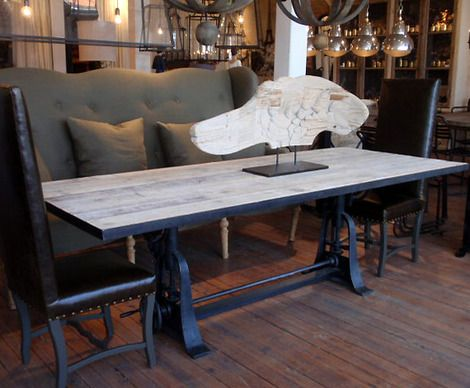 Industrial Crank Dining Table (8ft)  Adjusts to bar height!