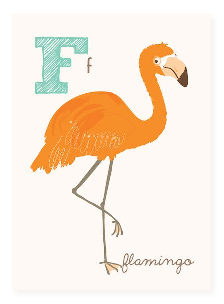 F is for Flamingo  5x7 art print by SeaUrchinStudio on Etsy, $4.50
