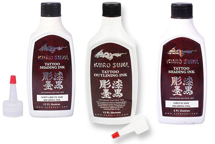 Kuro Sumi Ink Set - 1oz - £12.95 6oz - £32.95 12oz - ££54.95 #tattooink #kurosumi #magnumtattoosupplies