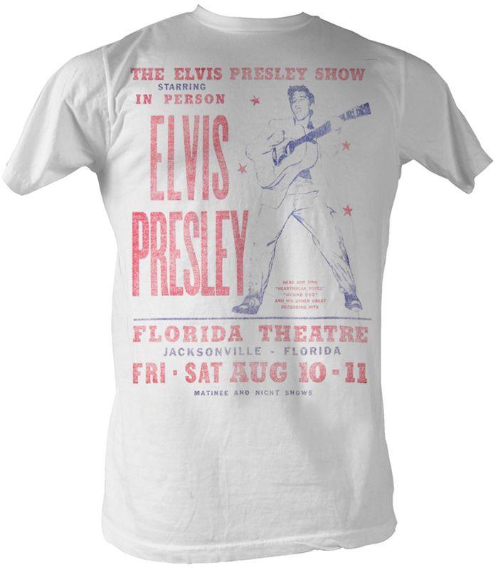 Elvis Presley T-shirt Elvis Presley Show Adult White Tee Shirt Elvis T-Shirts - Adult This Elvis Presley White T-shirt features the Elvis Presley Show