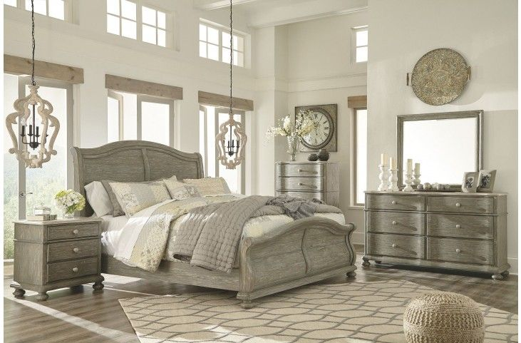 Marleny Gray And Whitewash Sleigh Bedroom Set From Ashley Coleman Furniture Bedroom Sets Queen Bedroom Set Grey Bedroom Set