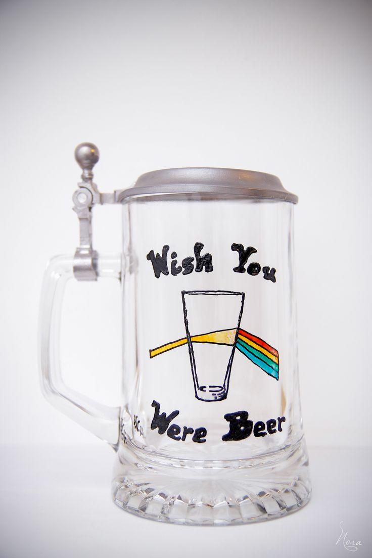 Painted beer glass, Pink Floyd...