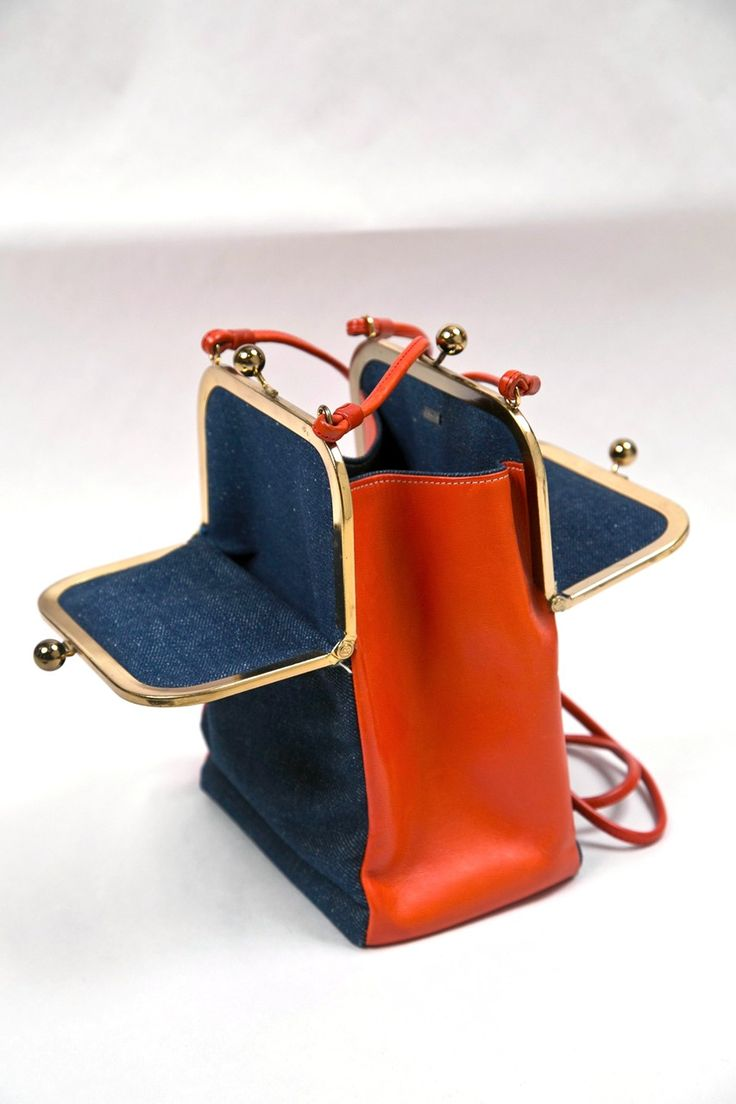 never used bonnie cashin leather & denim shoulderbag presented by funkyfinders image 2