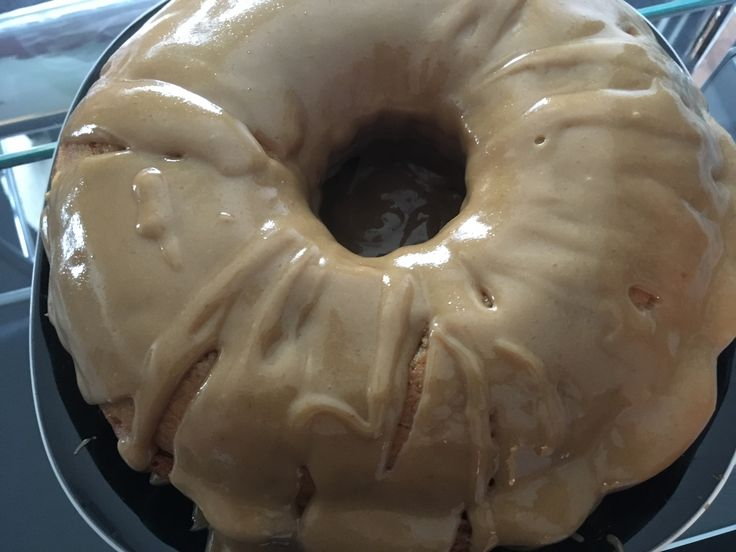 Spicy cinnamon bundt cake with caramel drizzle.