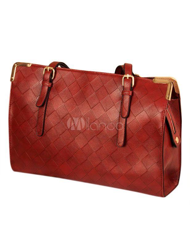 Affascinante forma orizzontale tessuta borsa di cuoio donna - Milanoo.com