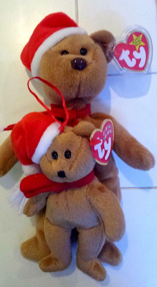 "Pair Ty Jingle   8"" Beanie Baby 1997 Holiday Teddy Bear  4200 MWMT Retired  xmas  Ty  ChristmasinJuly  48f7e02bc3c"