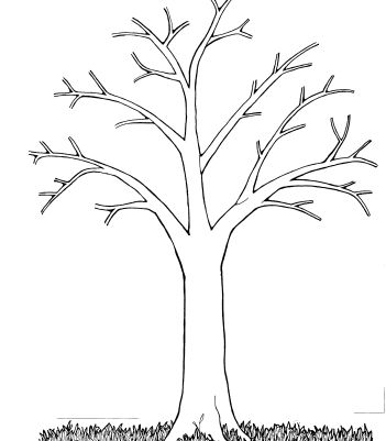 Tree without leaves coloring page to print and download