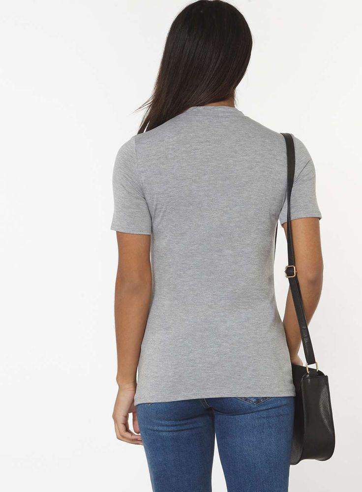 Womens Silver Grey Choker T-Shirt- Silver