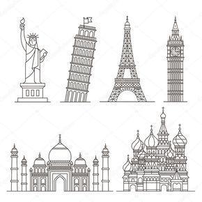 Iconos de señal. estatua de la libertad, torre de pisa, torre eiffel, big ben, taj mahal, Catedral de San Basilio. Ilustración de vector