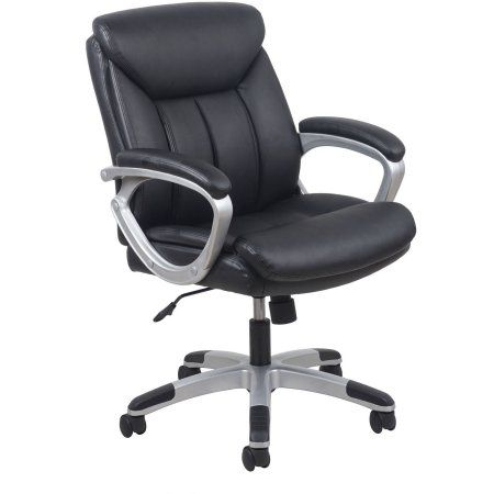 Essentials By OFM Leather Executive Office Chair With Arms, Black/Silver