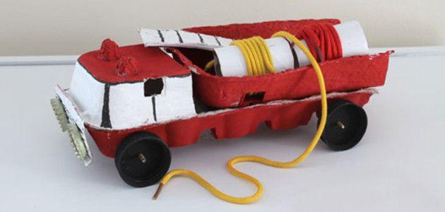 Camión de bomberos con hueveras de cartón #manualidades