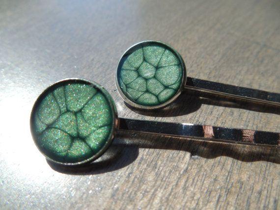 Épingles à cheveux vert barrettes émeraude pinces par CO2Bijou
