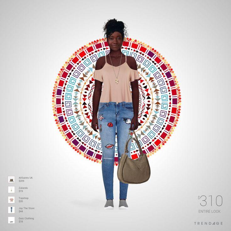 Roupa desenhada por Vitoria usando roupas de Joy The Store, Topshop, Zalando, Quiz Clothing, AllSaints UK. Estilo feito através do Trendage.
