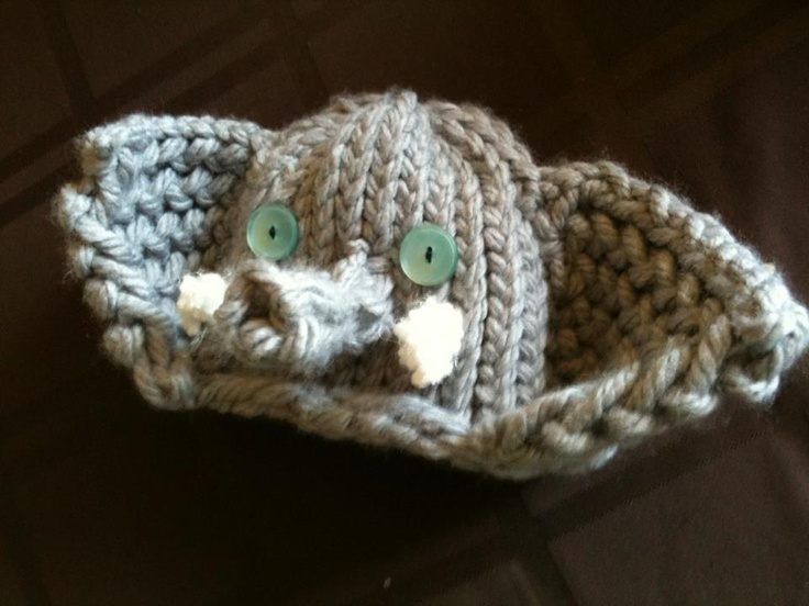 """My little stinkers hats """"Elaphant hat"""" all sizes $10 for 0-8months $15 for 1 year and older $20 for Adults www.facebook.com/mylittlestinkershats."""