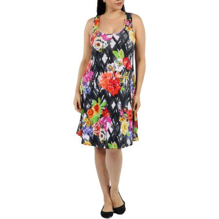 Plus Size 24/7 Comfort Apparel Women's Plus Floral Fireworks Mini Dress, Size: XL