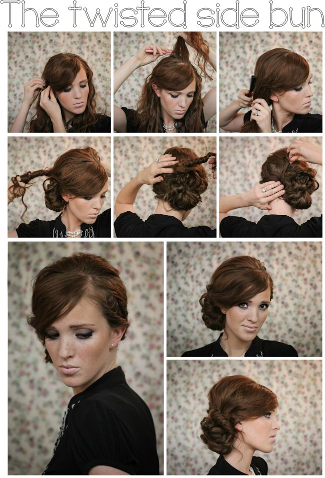 The twisted side bun--not for me, but for my girls. They'd be so pretty in this hairstyle.