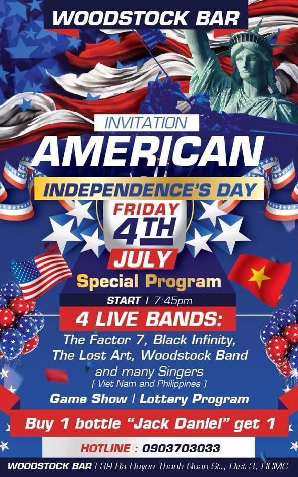 Cháy cùng Woodstock Bar HCM vào sự kiện đặc biệt ngày 4/7 nàoooo bar in hcm
