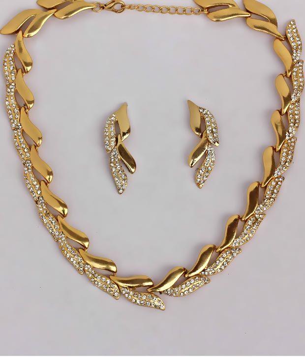 Touchstone Golden Leaf AD Glitzy Earrings 920