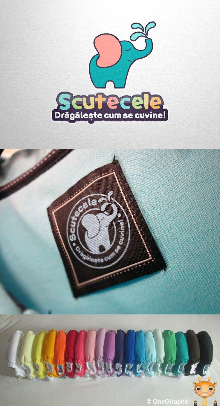 Scutecele ( Diapers ) - #logo #design #baby #diapers #kids #cute #sweet #love #elephant  #brand #identity #behance #logopond #brandstack #stocklogos #sale #portfolio