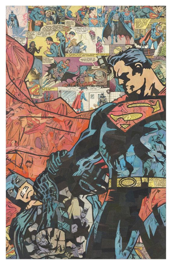 Superman v Batman Print 11x17 by ComicCollageArt on Etsy