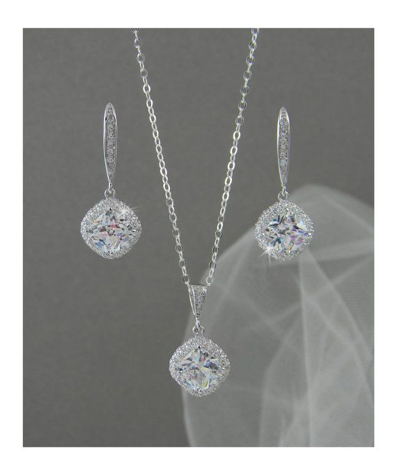 crystal bridal set bridesmaids jewelry set cushion cut crystal pendant and earrings wedding jewellery molly bridal jewelry set