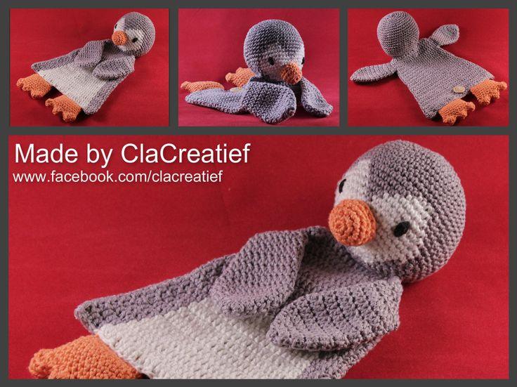 """Made by ©ClaCreatief; lappenpop/ ragdoll Pinguin gehaakt. Patroon komt uit het boekje """"gehaakte lappenpoppen"""" van a la Sascha."""