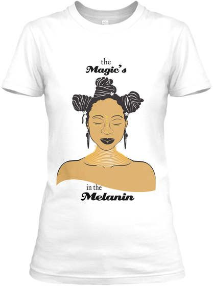 Black Girl Magical Melanin T-Shirt, Relaxed Tee, Brown and Black Girl Tee, Urban Wear, Urban Fashion, Brown Skin Girl, African American by EarthMetalPaper on Etsy