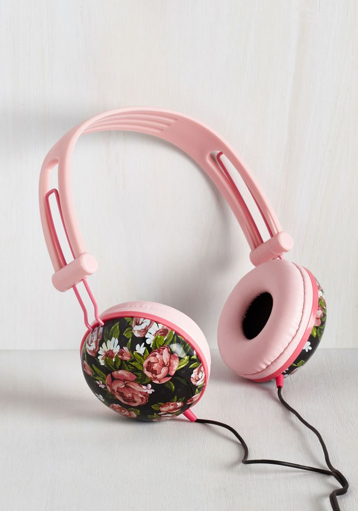 Swoons and Tunes Headphones in Painted Roses - Pink, Solid, Floral, Print, Pastel, Music, Good, Variation