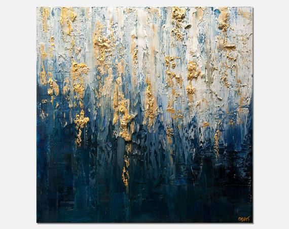 Contemporary Abstract Painting On Canvas Blue Gold Textured Etsy Texture Painting On Canvas Abstract Canvas Art Abstract Painting