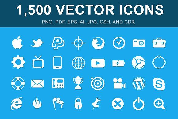 1,500 Vector Glyph Icons by Mister Pixel on @creativemarket