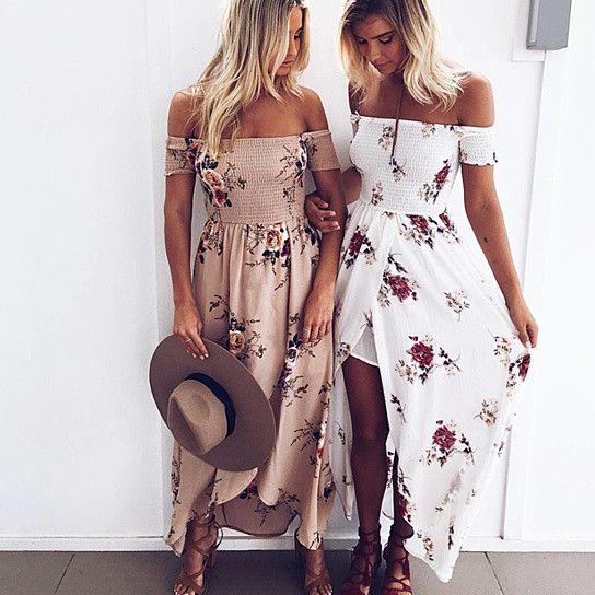 Floral Print Boho Off Shoulder Beach Summer Dress Chiffon