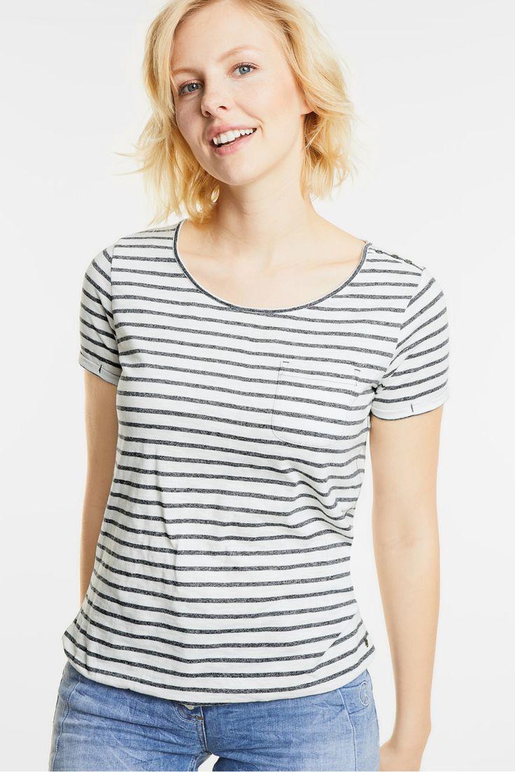 gestreept shirt met sierknoopjes