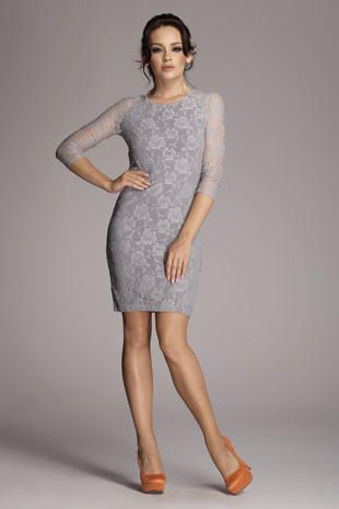 Grey Floral Lace Dress
