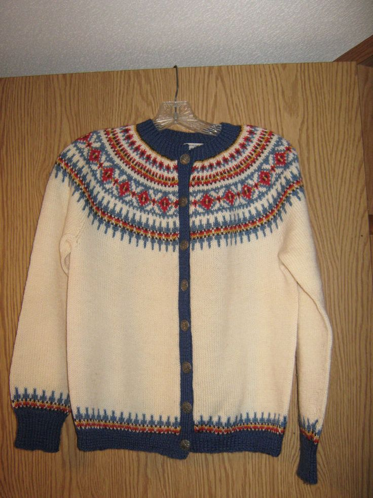 100% Wool Cardigan Bergenskofter Norway Knitted by Hand, Size Medium #Handmade #Knitted