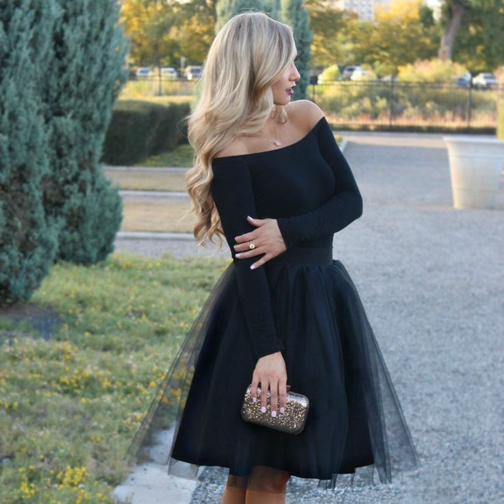 [Stephanie Danielle] chic in black on black. Black Ashley tulle skirt by Bliss Tulle