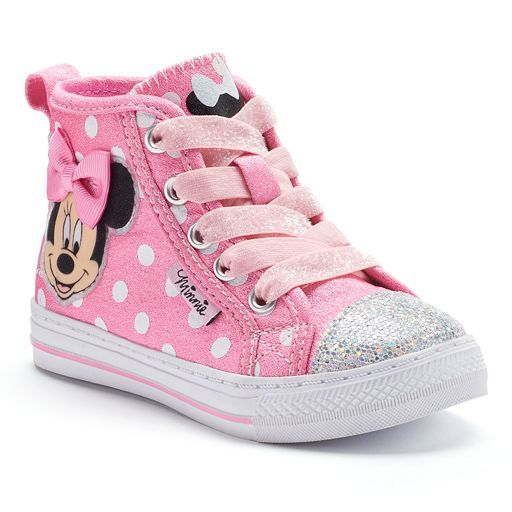 Disney's Minnie Mouse Toddler Girls' Glitter High-Top Sneakers