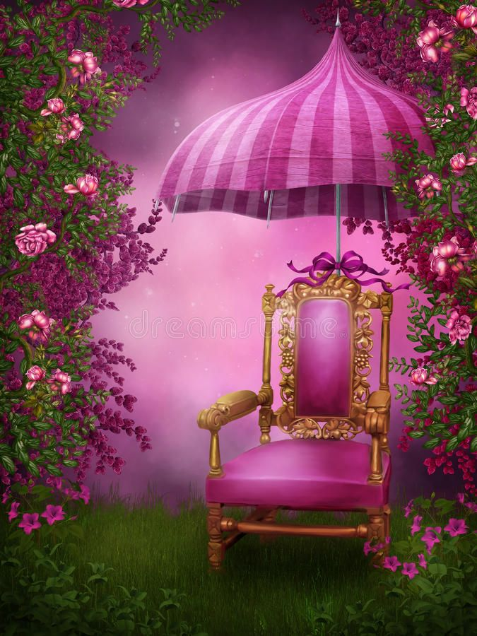 Photo About Pink Garden With A Chair And Umbrella Illustration Of Background Background For Photography Wedding Photo Background Photography Studio Background