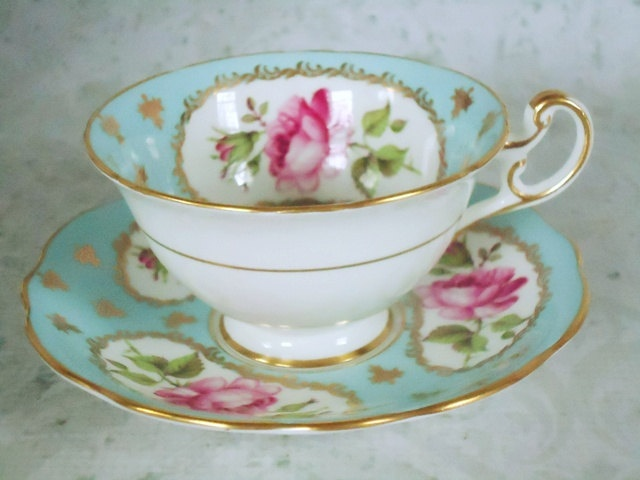 Turquoise and Pink English Tea Cup and Saucer Set - Vintage EB Foley Teacups and Saucers - Vintage Cups and Saucers. $53.00, via Etsy.