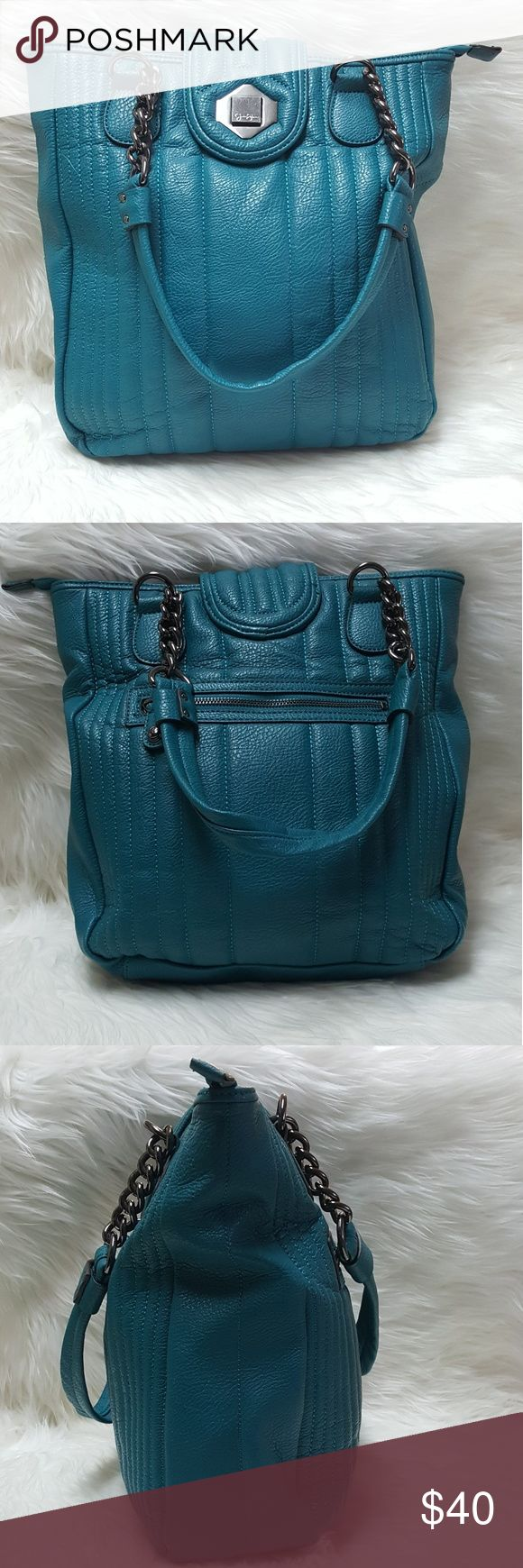 """JESSICA SIMPSON teal large shoulder bag tote JESSICA SIMPSON teal large shoulder bag tote, excellent condition  Measurements are approximate  14 x 13 x 4.5 10"""" strap drop height Jessica Simpson Bags Totes"""
