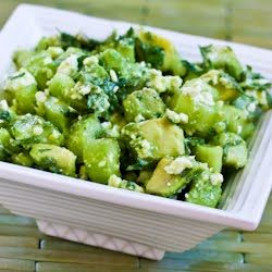Cucumber and Avocado Salad Recipe with Lime, Mint, and Feta ~ all the things I love ~ via http://www.kalynskitchen.com/2007/09/cucumber-and-avocado-salad-recipe-with.html