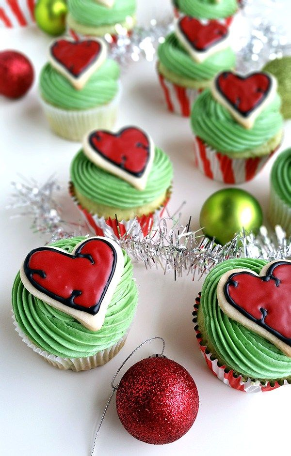 Grinch Heart Cupcakes - Her heart grew three sizes that day...