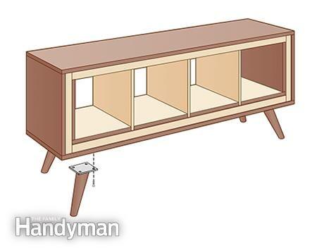 Attach legs - Ikea Kallax Hack: Mid-Century Modern Console: http://www.familyhandyman.com/woodworking/projects/ikea-kallax-hack-mid-century-modern-console/view-all