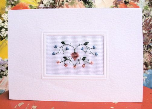cross stitch greeting card love and buds