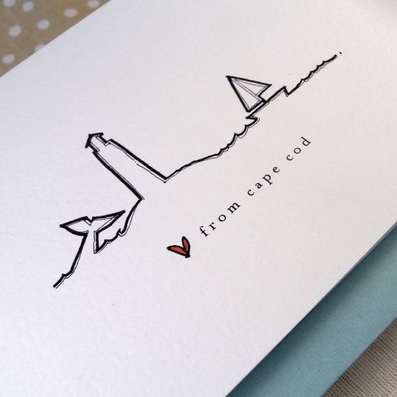 Cape Cod Tattoo Ideas Part - 15: Love From Cape Cod Notecard Set