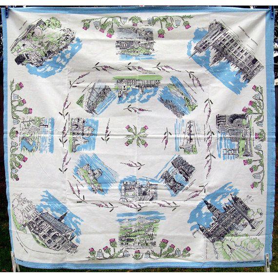 Vintage Scotland Souvenir Tablecloth