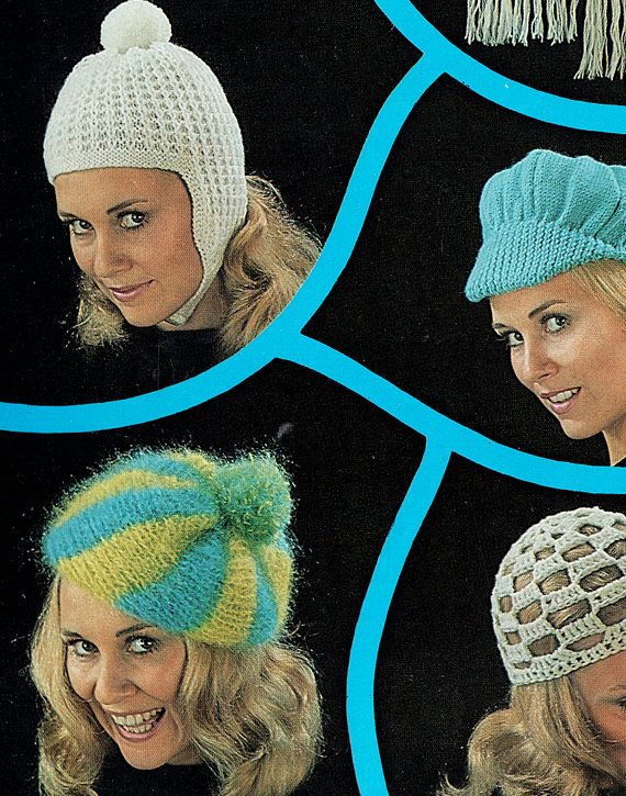 PDF  Vintage 1970s Womens Ladies Hat Knitting & Crochet