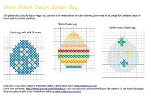 Embroidery pattern Easter eggs - you can use these cross stitch patterns for hama beads