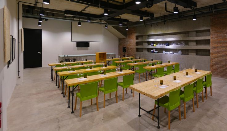 Hatten Wines, Wine Classroom with Schott Zwiesel glassware, recycled palettes furniture